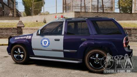 Chevrolet Trailblazer 2002 Massachusetts Police para GTA 4 esquerda vista