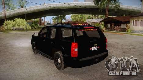 Chevrolet Tahoe LTZ 2013 Unmarked Police para GTA San Andreas traseira esquerda vista