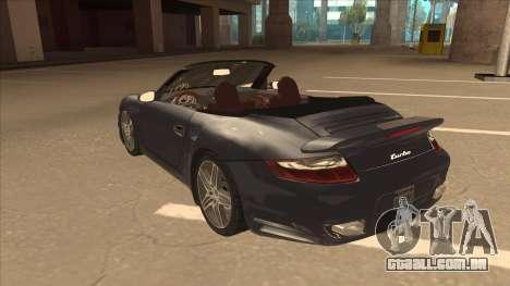 Porsche 911 Turbo Cabriolet 2008 para GTA San Andreas vista traseira