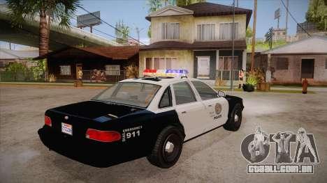 Vapid GTA V Police Car para GTA San Andreas vista direita