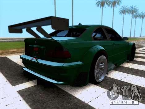 BMW M3 E46 GTR para GTA San Andreas traseira esquerda vista