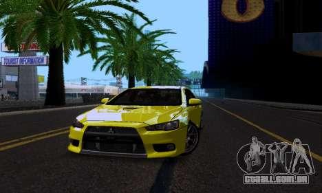 Mitsubishi Lancer Evo Drift Edition para GTA San Andreas vista interior