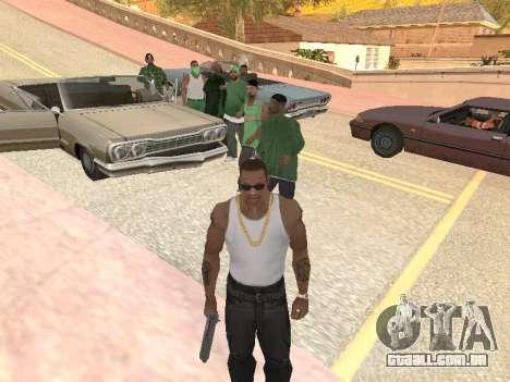 Três caras de uma gangue de rua de Groove para GTA San Andreas terceira tela