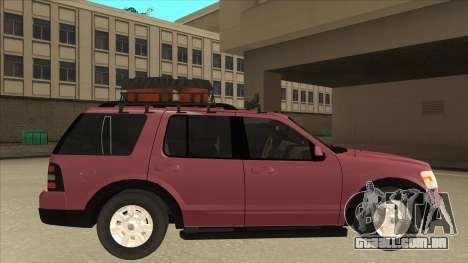 Ford Explorer 2011 para GTA San Andreas traseira esquerda vista