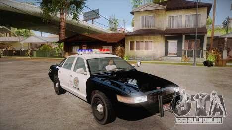 Vapid GTA V Police Car para GTA San Andreas vista traseira
