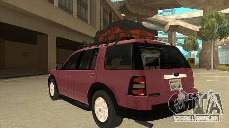 Ford Explorer 2011 para GTA San Andreas vista traseira