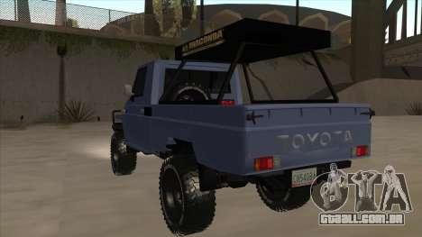 Toyota Machito Pick Up 2009 para GTA San Andreas vista traseira