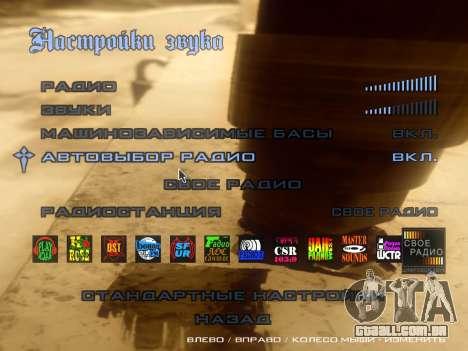O tema do menu principal e carga em estilo graff para GTA San Andreas por diante tela