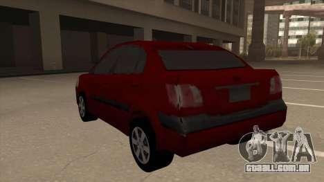 KIA RIO II para GTA San Andreas vista traseira