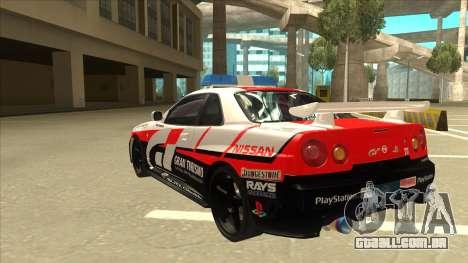 Nissan Skyline BNR34 GT4 Pace Car para GTA San Andreas vista traseira