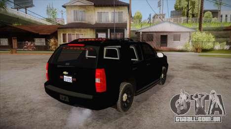 Chevrolet Tahoe LTZ 2013 Unmarked Police para GTA San Andreas vista direita