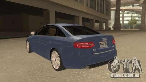 2010 Audi A6 4.2 Quattro para GTA San Andreas vista traseira