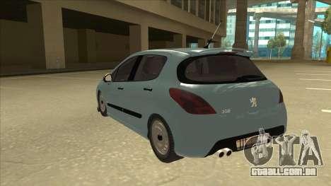 Peugeot 308 Burberry Edition para GTA San Andreas vista traseira