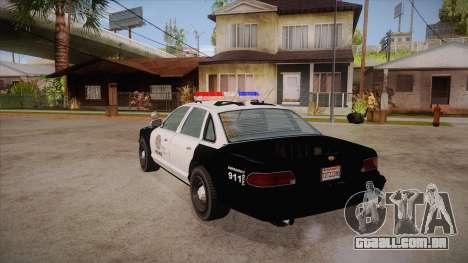 Vapid GTA V Police Car para GTA San Andreas traseira esquerda vista