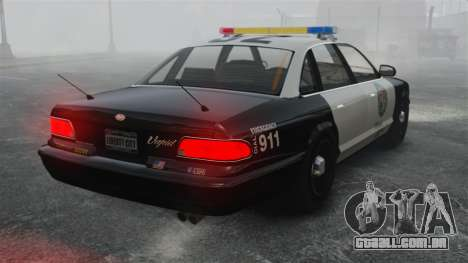 Uma viatura policial GTA V para GTA 4 traseira esquerda vista