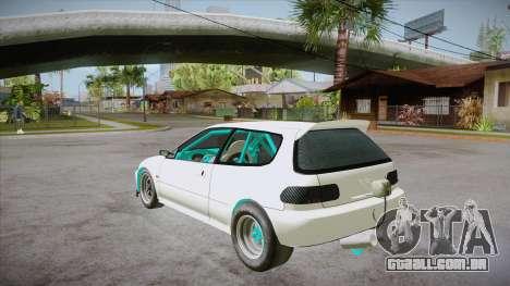 Honda Civic (EG6) Drag Style para GTA San Andreas traseira esquerda vista