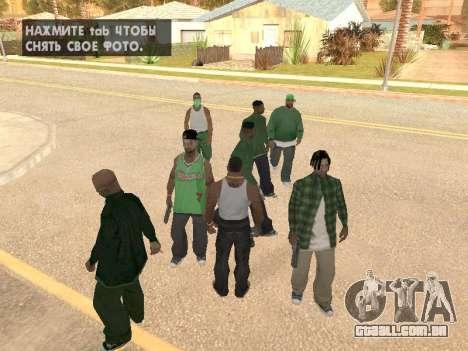 Três caras de uma gangue de rua de Groove para GTA San Andreas segunda tela