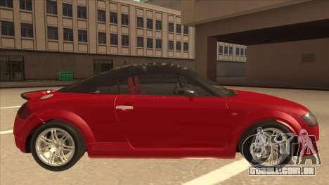 Audi TT Coupe BiMotor Black Revel para GTA San Andreas traseira esquerda vista