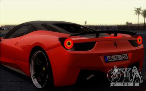 Ferrari 458 Italia Novitec Ross para GTA San Andreas vista direita