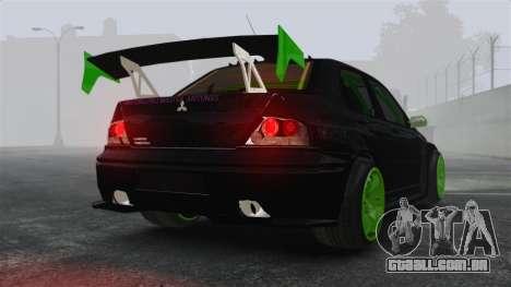 Mitsubishi Lancer Evolution VII Freestyle para GTA 4 traseira esquerda vista