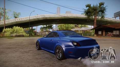 Lexus SC430 2JZ-GTE Black Revel para GTA San Andreas traseira esquerda vista