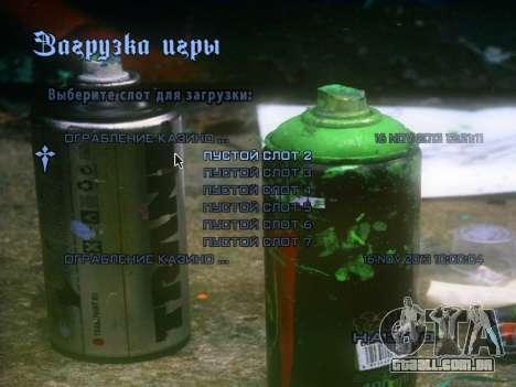 O tema do menu principal e carga em estilo graff para GTA San Andreas terceira tela