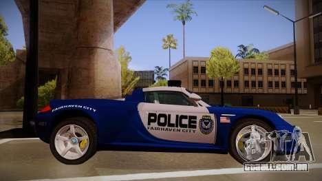 Porsche Carrera GT 2004 Police Blue para GTA San Andreas traseira esquerda vista