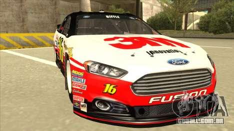 Ford Fusion NASCAR No. 16 3M Bondo para GTA San Andreas esquerda vista