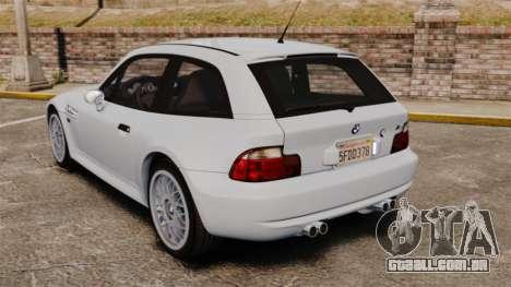 BMW Z3 Coupe 2002 para GTA 4 traseira esquerda vista