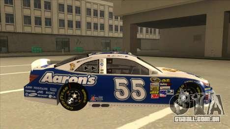 Toyota Camry NASCAR No. 55 Aarons DM blue-white para GTA San Andreas traseira esquerda vista