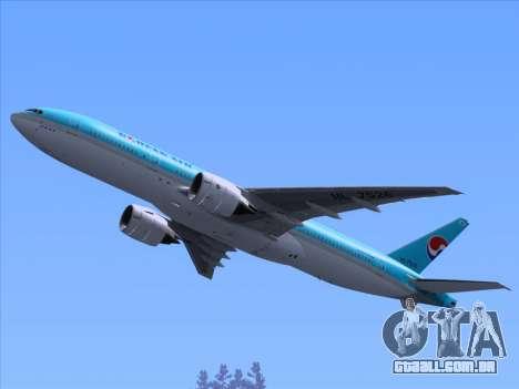 Boeing 777-2B5ER Korean Air para as rodas de GTA San Andreas