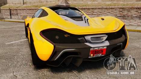 McLaren P1 2013 para GTA 4 traseira esquerda vista