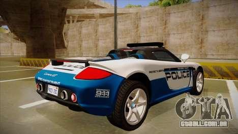 Porsche Carrera GT 2004 Police White para GTA San Andreas vista direita
