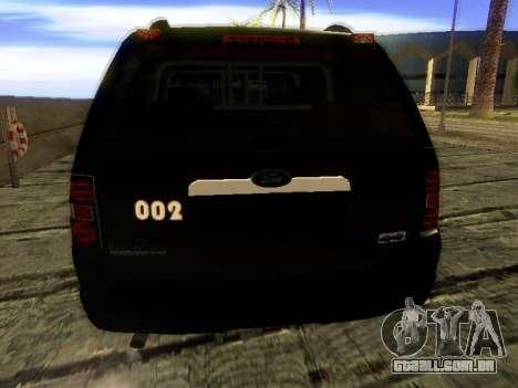 Ford Explorer 2010 Police Interceptor para GTA San Andreas traseira esquerda vista