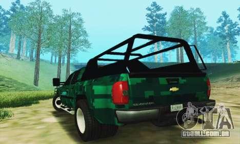 Chevrolet Silverado 3500 Military para GTA San Andreas traseira esquerda vista