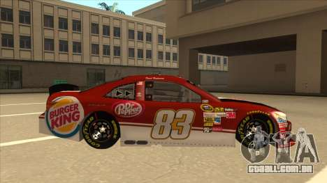 Toyota Camry NASCAR No. 83 Burger King Dr Pepper para GTA San Andreas traseira esquerda vista