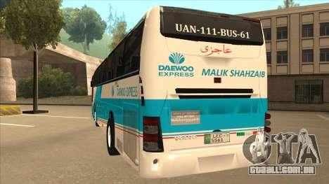 Zaibee Daewoo Express Coach para GTA San Andreas vista traseira