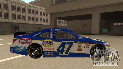 Toyota Camry NASCAR No. 47 Bushs Beans para GTA San Andreas traseira esquerda vista