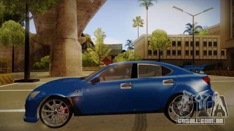 Lexus IS F V1 para GTA San Andreas traseira esquerda vista