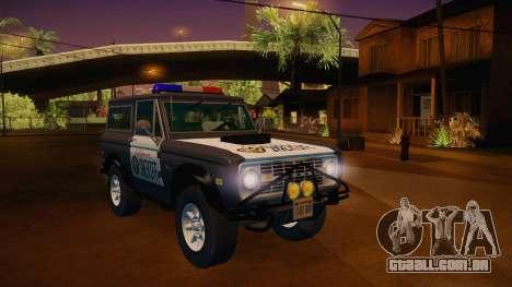 Ford Bronco 1966 Sheriff para GTA San Andreas vista direita