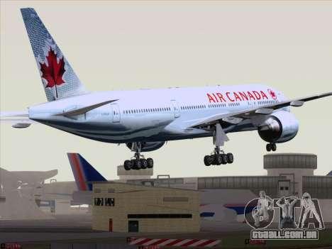 Boeing 777-200ER Air Canada para GTA San Andreas traseira esquerda vista