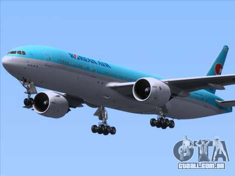 Boeing 777-2B5ER Korean Air para GTA San Andreas vista interior