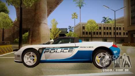 Porsche Carrera GT 2004 Police White para GTA San Andreas traseira esquerda vista