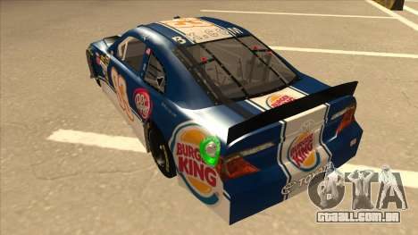 Toyota Camry NASCAR No. 93 Burger King Dr Pepper para GTA San Andreas vista traseira