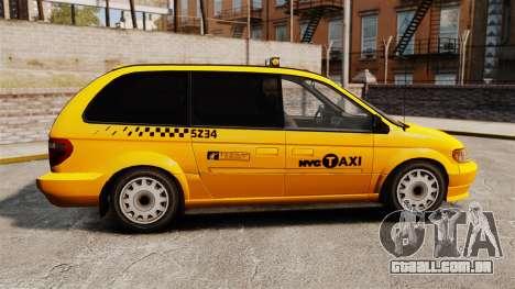 Dodge Grand Caravan 2005 Taxi NYC para GTA 4 esquerda vista