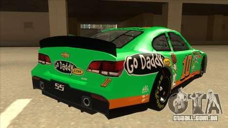 Chevrolet SS NASCAR No. 10 Go Daddy para GTA San Andreas vista direita