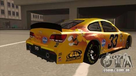 Chevrolet SS NASCAR No. 33 Cheerios para GTA San Andreas vista direita