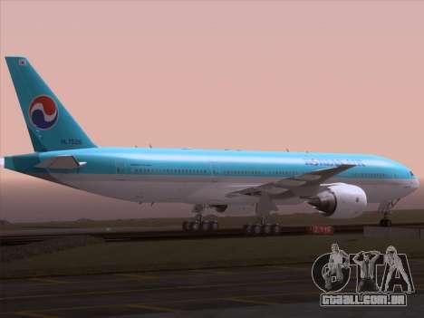 Boeing 777-2B5ER Korean Air para GTA San Andreas vista superior