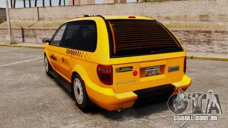 Dodge Grand Caravan 2005 Taxi NYC para GTA 4 traseira esquerda vista