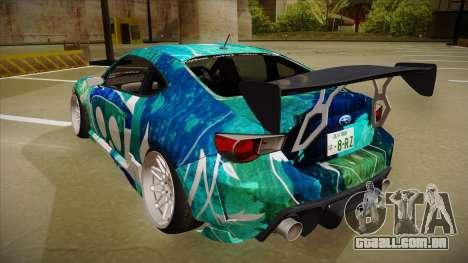 Subaru BRZ para GTA San Andreas vista traseira